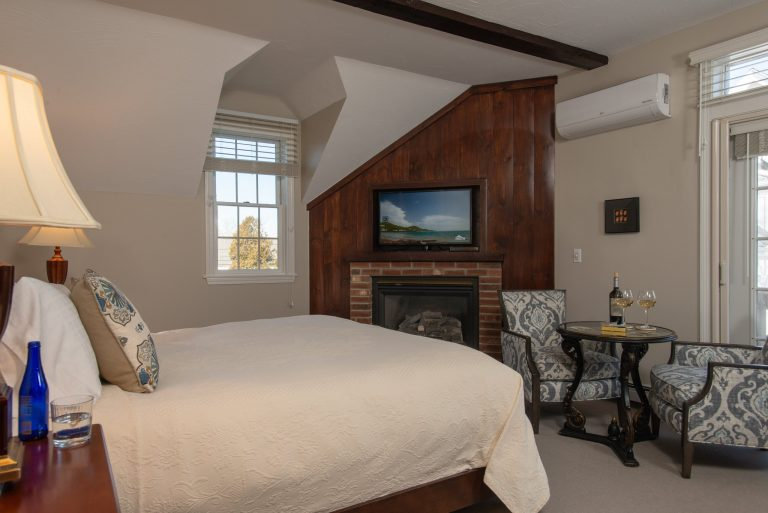 Carriage House Room Hallett fireplace