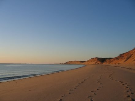 Great Island Beach with Footsteps in sand Cape Cod