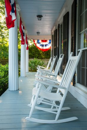 Front porch with rocking chairs